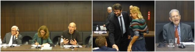 Herr Prada - Patrizio Bertelli (ganz links) lauscht der englischen Übersetzung der Worte  seines Architekten Rem Koolhaas, Signora Prada parliert mit dem Kulturminister Franceschini