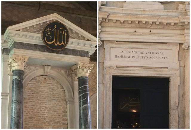 Eine kleine Provokation vielleicht doch: Die Inschrift über der Eingangstüre der Kirche sagt: «Sacrosanctae Vaticanae Basilicae Perpetuo Aggregata», also für ewig dem Vatikan zugeordent. Immerhin aber ist die Kirche privat, sie funktionierte schon vor der Moschee nicht als Kirche. Rechts: Die neue Inschrift