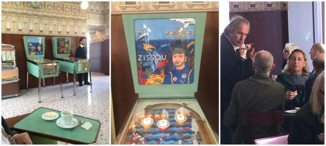 Das von Wes Anderson eingerichtete Café «Luce», Flipperkasten mit Zissou, Frau Prada empfängt beim Kaffee und Tramezzino