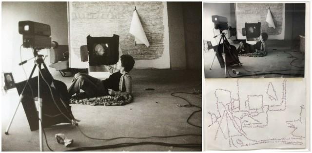ketty La Roccas Werk «Il Mio Lavoro» von 1973 basiert auf einem Foto, in dem sie sich selber in ihrem Atelier aufgenommen hat und dann die Umrisse des Fotos mit Handschrift-Notizen nachgezogen hat. Es ist schon verkauft, der Preis war um die 20 000 Euro.