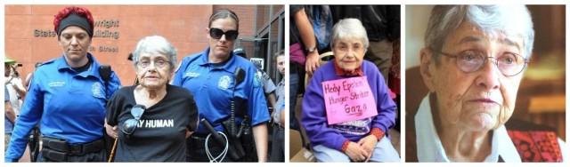 Hedy Epstein bei ihrer Verhaftung während der Ferguson-Demo in St. Louis, als sie für Gaza einen Hungerstreik machte, in Dani Gals schönem Film «A Woman of Valor», 2015