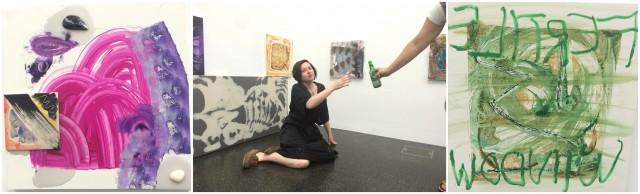 Lucy Stein (Mitte) und ihre Werke - Marie Lusa reicht ihr ein Bier