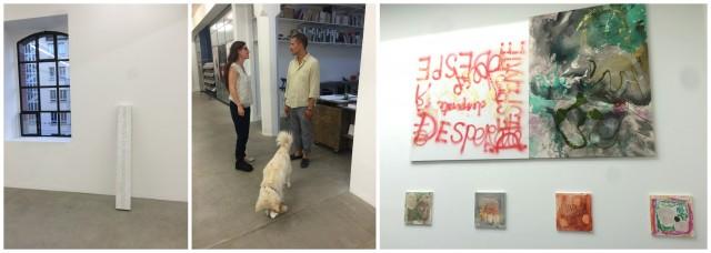 Ein Marmorblock mit der Inschrift «sono vietati gli discussioni politici» von Dani Gal, Galerist Jean-Claude Freymond-Guth und sein Hund, Werke von Lucy Stein in der Galerie Gregor Staiger