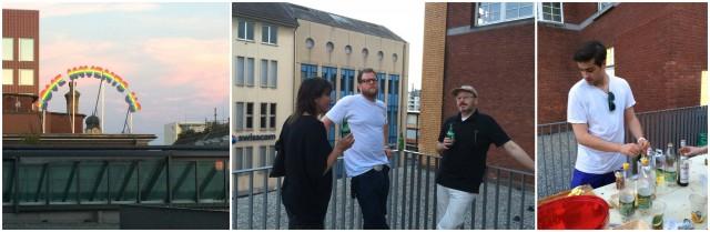 Löwenbräu-Terrassenstimmung: Ugo rondinones Werk vor dem Abendhimmel, Künstler Dani Gal, Oscar Weiss mixt Pimm's