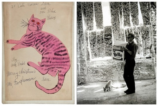 Das Cover des «25 Cats Name Sam»-Buchs mit Widmung für Lou Dorfsman, den CBS-Werbechef, der Warhol als Illustrator gross machte, Der Künstler mit Katze in seinem Atelier