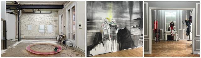 Keine White Cubes: Der Stand von Gregor Staiger mit Werken von und Florian Germann, Mitte Marc Buers Wandzeichnung bi Freymond-Guth, der Stand Galerie Sultana, Paris