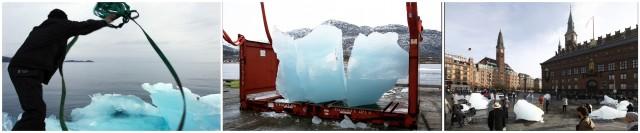 Eisernte im Nuuk-Fjord, Transport der Blöcke, Olafur Eliassons «Ice Watch» von 2013 in Kopenhagen