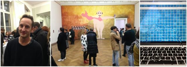 Von links nach rechts: co-Kurator Claudio Vogt, Kunsthalle Chefin Elena Filipovic, Bild aus dem Video von ........
