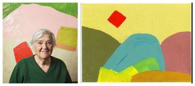 Etel Adnan und eines ihrer malerischen Werke im Haus Konstruktiv