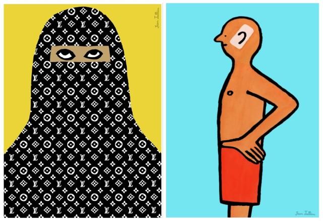 Ältere Prints von Jean Jullie: Louis-Vuitton-Burka, die Bräune des Handynutzers