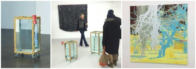 Von links: Skulptur «Cola» von Angelika Loderer, Clemens Wolfs schwarzes Epoxy-Gemälde «Parachute Painting #9», Markus Gadients «Zyklus Wildenstein Nr. 277»
