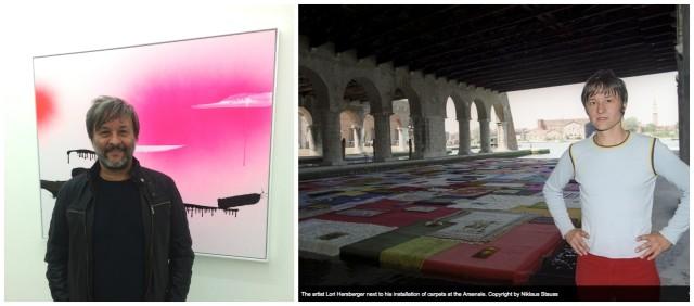 Lori Hersberger vor seinem Bild «Ghost Bayou» von 2003 in der Galerie Gunzer und 1999 vor seiner Arsenale-Installation in Venedig