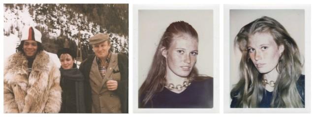 Links: Archivfoto aus St. Moritz, Jean-Michel Basquiat (links) mit Burno Bischofberger (rechts) und einer Dame, Rechts: Die Polaroidfotos, welche Warhol machte, um ein Porträt von Yoyo Bischofberger in den 80-er Jahren zu malen