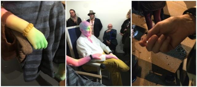 Die Skulptur und die Realität: Bischofbergers mit ihrem wächsernen Konterfei, die Hand mit dem Eiswürfel