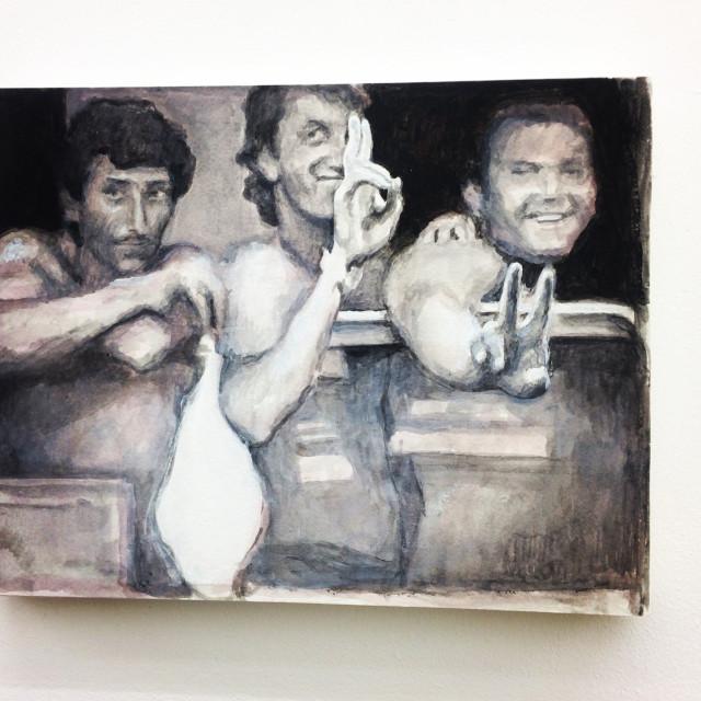«Greeters», Acryl auf Papier und Leinwand, ein Gemälde Pacis aus der aktuellen Ausstellung bei Kilchmann