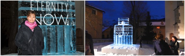 Sylvie Fleury vor ihrer Eisskulptur, «Eternity Now» im Kirchhof von Zuoz