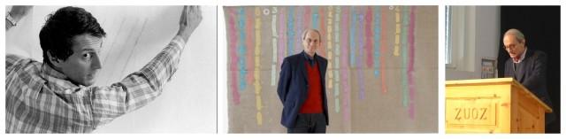 Giorgio Griffa als junger Maler in den 70-er Jahren, vor einem seiner Gemälde und während des Vortrags in Zuoz