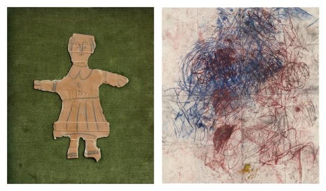 Pablo Picasso, «Fillette», 1939-40 (Foto: gmurzynska.com), Oscar Murillo, «Untitled - Drawings off the Wall». 2011 (Foto: phillips.com)