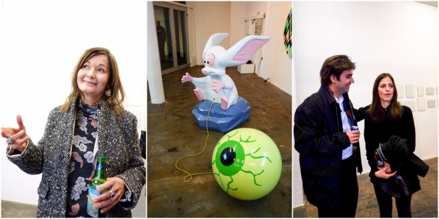 Die Genfer Künstlerin Sylvie Fleury, ihre Installation «¬'oeuil du Vampire», 2015, Niels Olsen (gta exhibitions) spricht mit der Künsterlin Pamela Rosenkranz