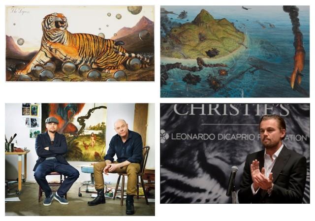 Im Uhrzeigersinn: Das Werk «Tigerin» von Walton Ford, sein Aquarell «Paciific Theatre», Di Caprio bei seiner Auktion der «11th Hour» und beim Besuch in Fords Atelier