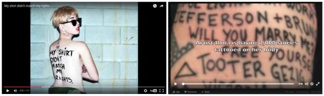 Aktionen von illma Gore: «My shirt didn't match my rights», 2013, in der sie für Homo-Ehe demonstriert, und «Human Canvas», in dem sie Platz für Tattoo-Unterschriften auf ihrer Haut verkauft