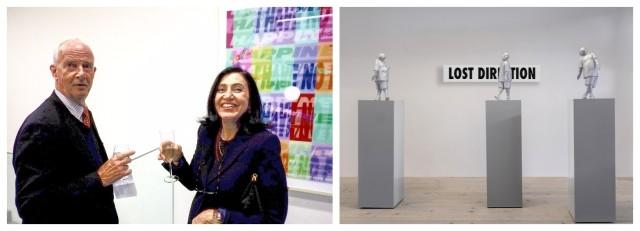 Hugo und Ursula Bütler vor Lüthis Werk «Placebos & Surrogates» von 2001, Installation «Lost Direction»