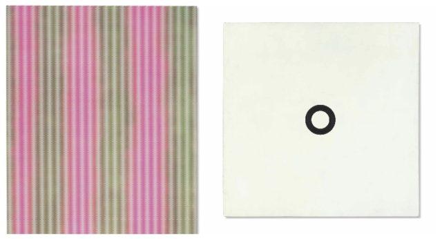 Schweizer Maximalismus und Minimalismus schliesst preislich auf. Links: John Armleder, «Chabasite» von 2003, Acryl auf Leinwand, verkauft für $221,000 . Rechts: Olivier Mosset, Untitled von 1969, verkauft für $137,000 .