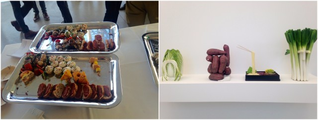 Gemüse als Kunst und kunstvolle Häppchen an der Vernissage in Aarau
