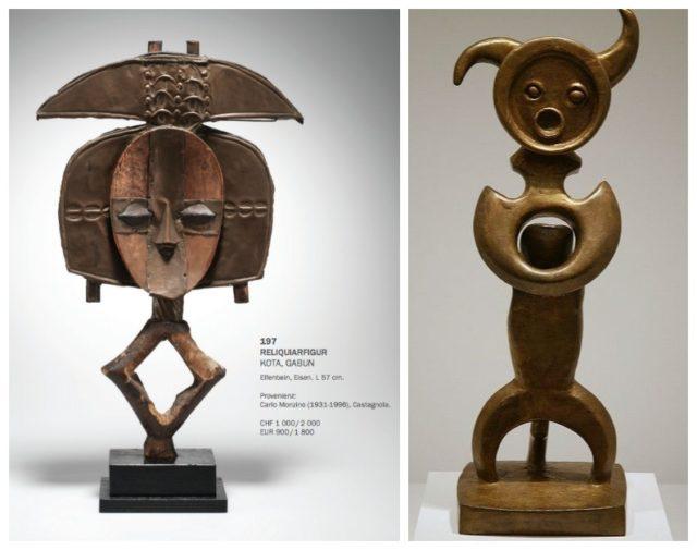 Welche Skulptur ist von Max Ernst? Rechts «Moonmad» des Surrealisten, links eine Figur aus Gabun