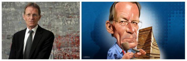 Der Tate-Mastermind Nicholas Serota live und auf einer Karikatur der Financial Times