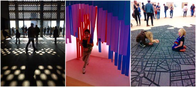 Licht- und Schattenspiel à la «Hörsög e Dömüron», farbige Installationen, Kinder, die auf Skulpturen mit Puppen spielen