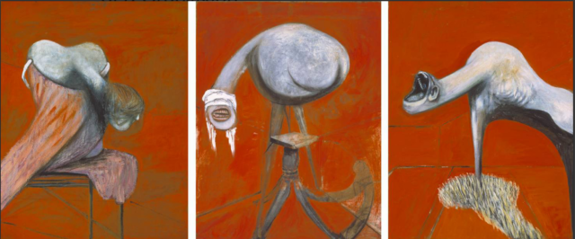 """Francis Bacon, """"Three Studies for Figures at the Base of a Crucifixion"""", courtesy Tate Collection"""