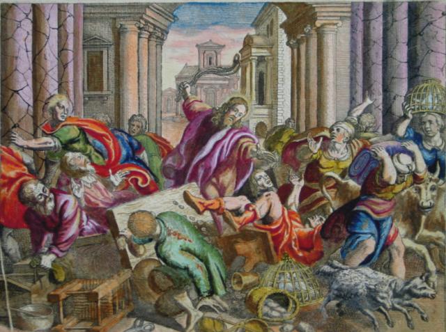 """Händler raus: Eine etwas rabiate Szene der """"Tempelreinigung"""" aus der Basler Merian-Bibel von 1625"""