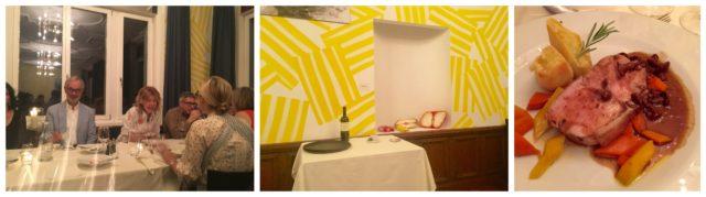 Hausherr Ruedi Bechtler und Galeristin Monica de Cardenas am Tisch, eine Installation des Schweizer Künstlers Nicolas Party im Speisesaal, die Gaben des Waldes auf dem Teller