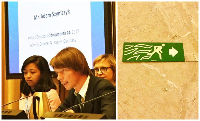 Documenta-Chef Adam Szymczyk verrät uns seine Pläne für die kommende Documenta (links, Photo Bischof), auch Fluchtweg-signalisation entbehrt im UNO-Gebäude nicht einer gewissen Dramatik.