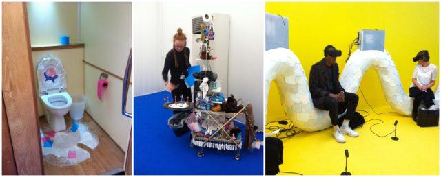 kreativität der Klo-Ladys: Toiletteninstallation von Julie Verhoeven (links und Mitte), virtuelle Realität von Jon Rafman