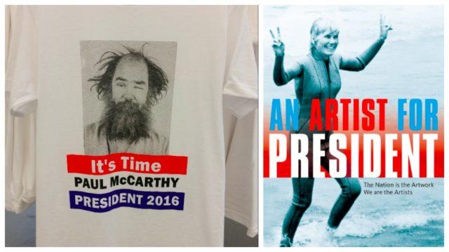 Artist for President: Angesichts der absurden Züge des US-Wahlkampfs kommt man auch in den Staaten auf die Idee. Links: Kampagnen T-Shirt für den kalifornischen Skandalkünstler Paul McCarthy, rechts: Susanna Dakins Kampagne lief 2011 als Kunstaktion.