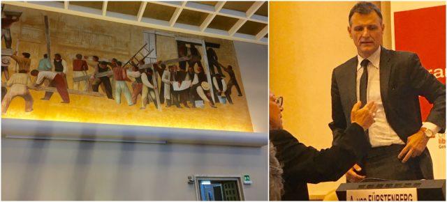 Das Gemälde im Saal 12 der UNO, wo das Library-Talk stattfand, stammt noch vom alten Völkerbundpalast her, gemalt hat es der italienische Maler und Journalist