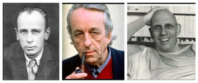 Nadyas Lehrmeister: Mikhail Bachtin (1895-1975), Louis Althusser (1918-1990), Michel Foucault (1926-1984). Fotos: Wikipedia