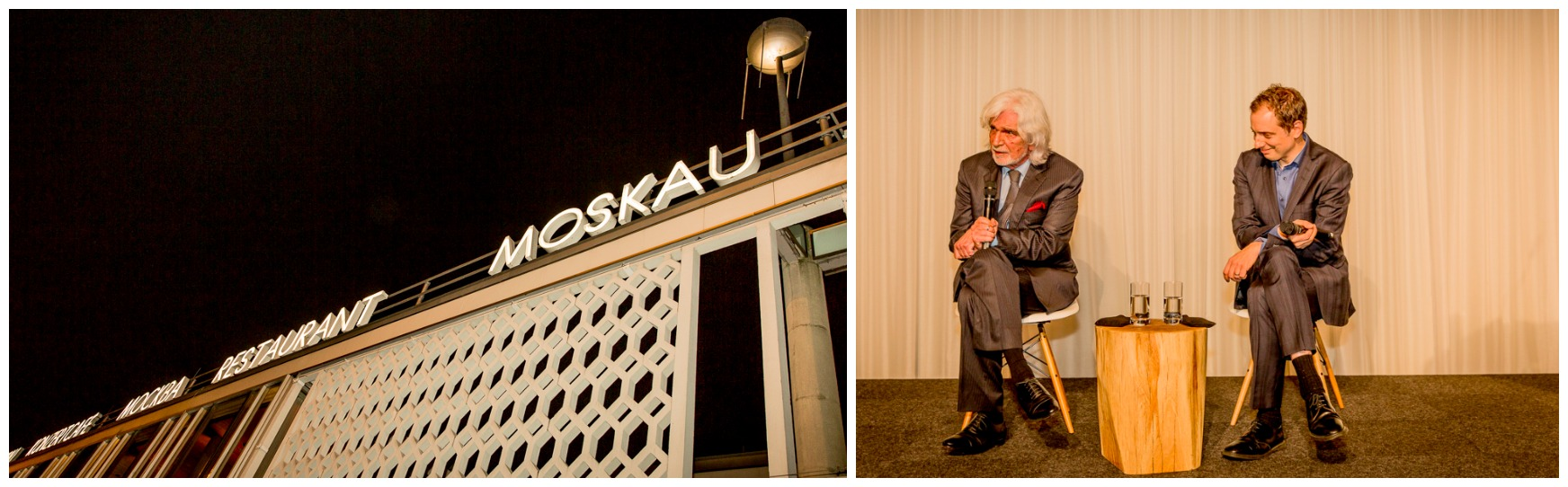 Das Café Moskau im ehemaligen Ostberlin erinnert an Avantgarde-Träume von anno dazumal (links), Bernardo Paz und Jochen Volz bei der Diskussion. Fotos: Klaus Weddig