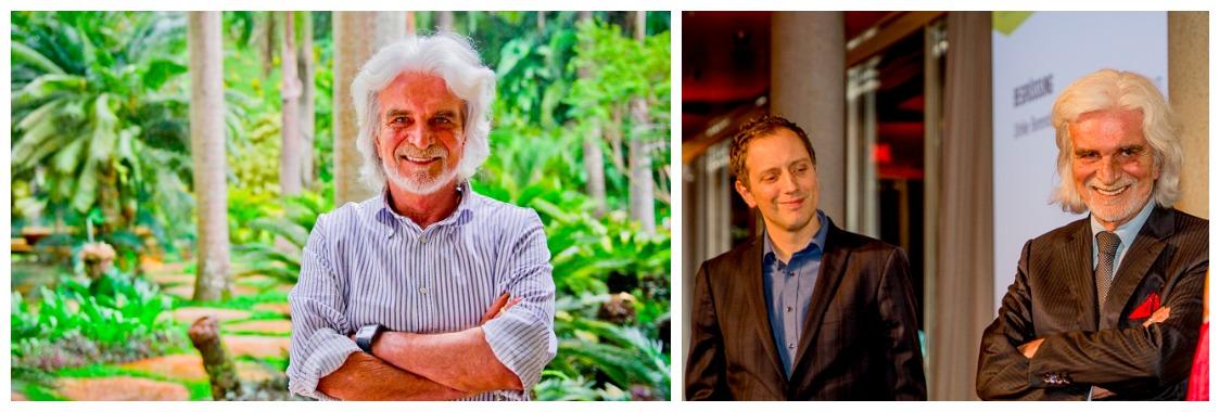 Der «moderne Fitzcarraldo» Bernardo Paz in seinem tropischen Paradies in Brasilien (l.) und an der Kunstkonferenz der FAZ mit Kurator Jochen Volz. Fotos: Inhotim, ewh