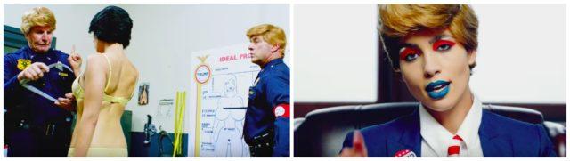 «Make America Great Again»: Polizisten mit Trump-Frisur verpassen der politisch Unangepassten eine Zwangs-Brustvergrösserung, rechts: Nadya als Trump. Fotos: Youtube
