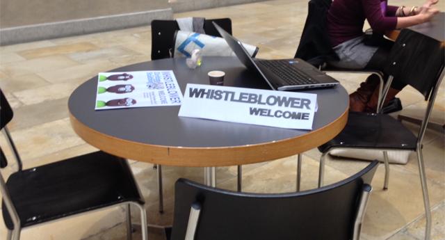 Unser Whistleblower-Office im Lichthof der Uni.