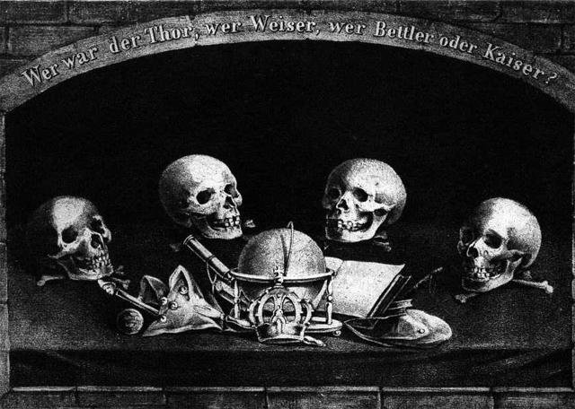 Sinnspruch der deutschen Freimaurerei: Vor dem Tod sind alle gleich.