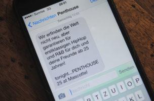 Promo-SMS: Die Antwort durfte aus Jugendschutz-Gründen nicht mit aufs Bild.