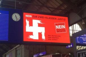 Die Botschaft verfehlt: Hakenkreuz am Hauptbahnhof.