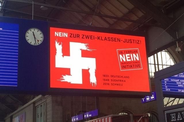 Die Botschaft verfehlt: Hakenkreuz am Hauptbahnhof. Bild: persoenlich.com / Lucienne Vaudan