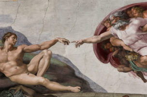 Gott gibt den göttlichen Funken an Adam. Der bezahlt damit das Fest der Freidenker.