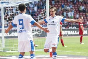 FCZ-Stürmer Mario Gavranovic feiert nach einem Treffer. 14. Juli 2013. (Keystone/Ennio Leanza)