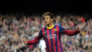 Neymar vor dem Publikum im Camp Nou Stadion in Barcelona, 23. November 2013. (Bild: Keystone/ Manu Fernandez)